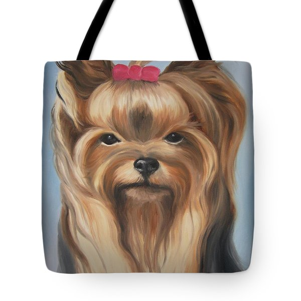 Tote Bag featuring the painting Little Yorkshire Princess by Jindra Noewi