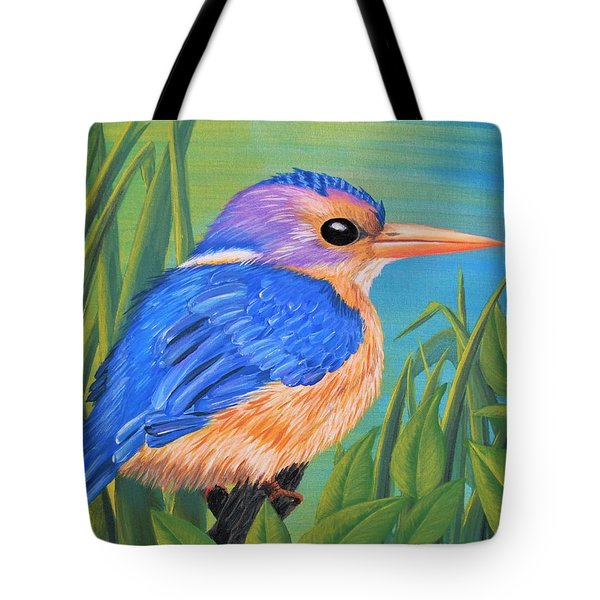 Tote Bag featuring the painting Litttle King Of The Fishers by Sophia Schmierer
