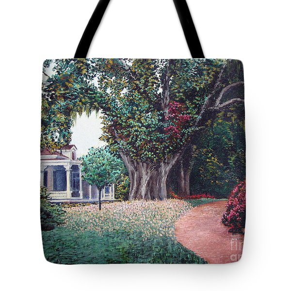 Tote Bag featuring the painting Live Oak Gardens Jefferson Island La by Todd Blanchard