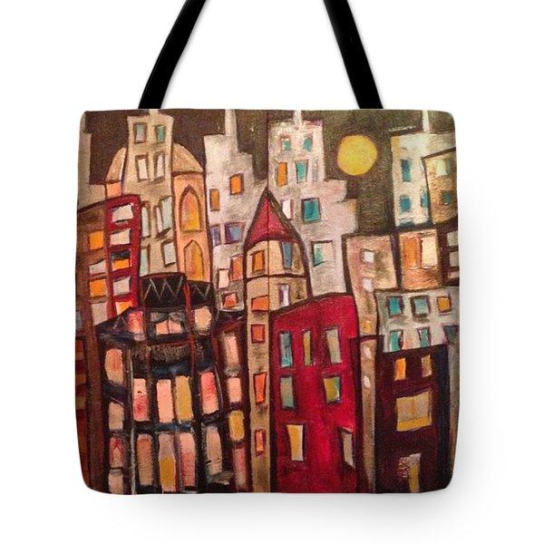 Lively City Skyline Tote Bag