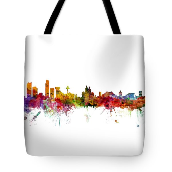 Liverpool England Skyline Panoramic Tote Bag