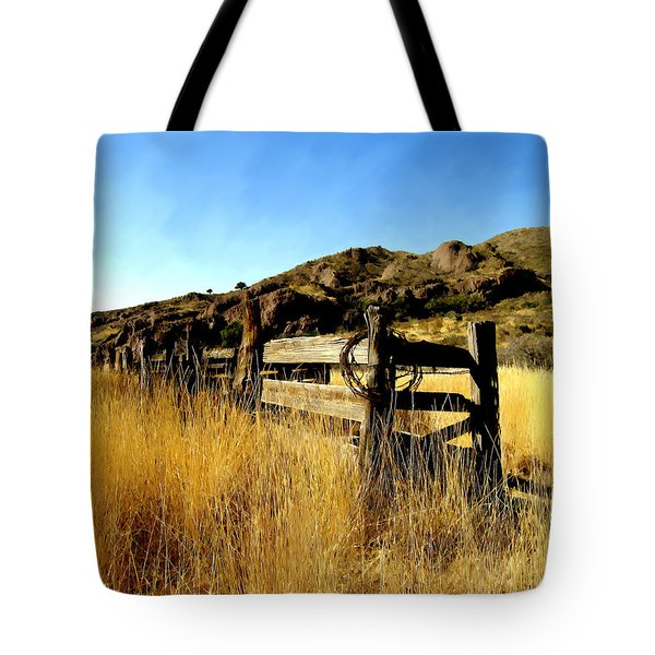 Livery Fence At Dripping Springs Tote Bag by Kurt Van Wagner