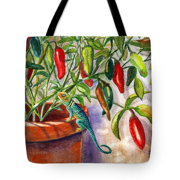 Tote Bag featuring the painting Lizard In Hot Sauce by Marilyn Smith