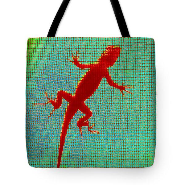 Lizard On The Screen Tote Bag
