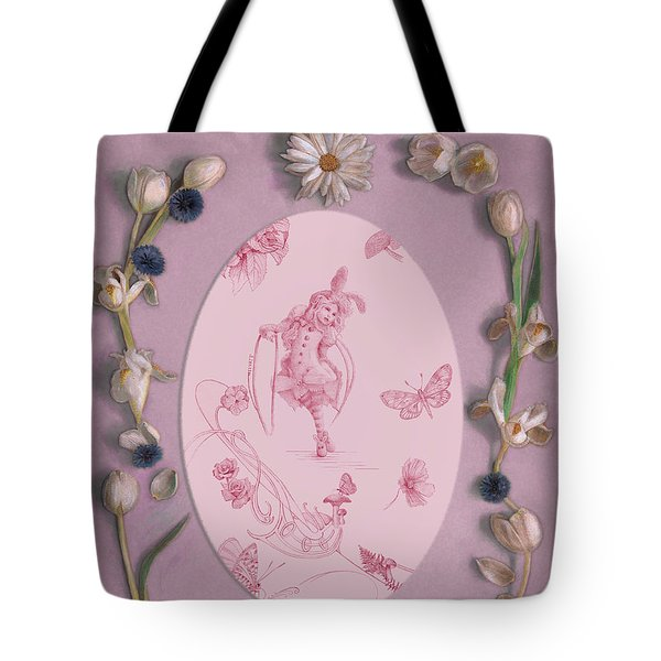 Tote Bag featuring the mixed media Lizette Of Whispering Daydreams With White Tulips by Nancy Lee Moran