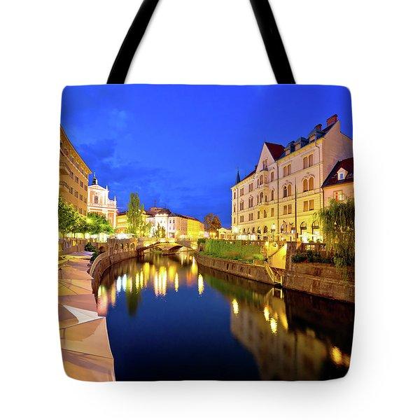 Ljubljanica River Waterfront In Ljubljana Evening View Tote Bag