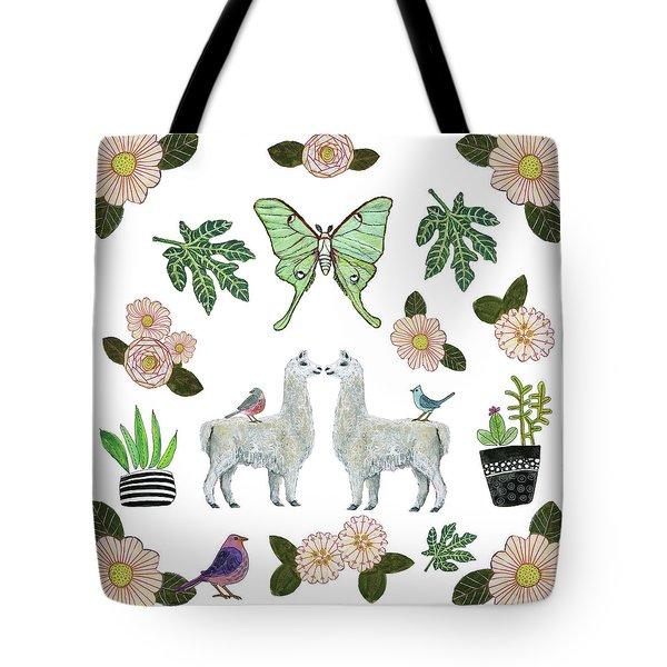 Llama And Luna Moth Pattern Tote Bag