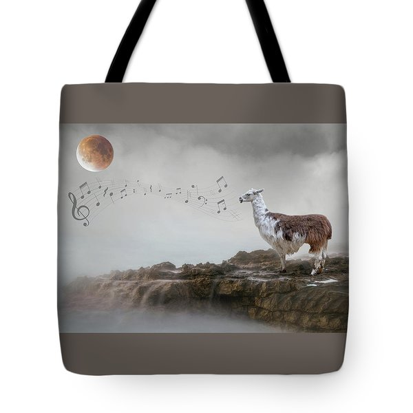 Llama Singing To The Moon Tote Bag