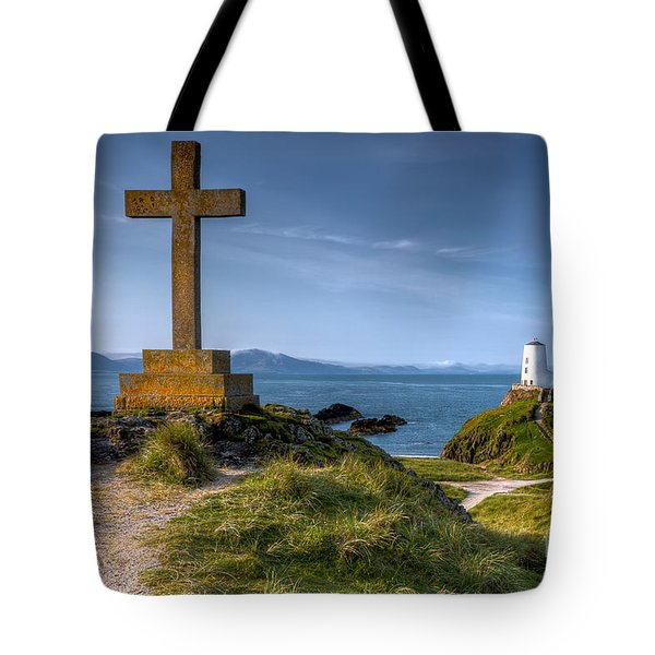 Tote Bag featuring the photograph Llanddwyn Cross by Adrian Evans