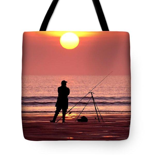 Llangennith Fishing At Sundown Tote Bag