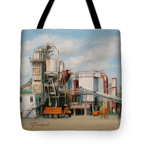 Tote Bag featuring the painting Load  The Big Orange Truck by Oz Freedgood