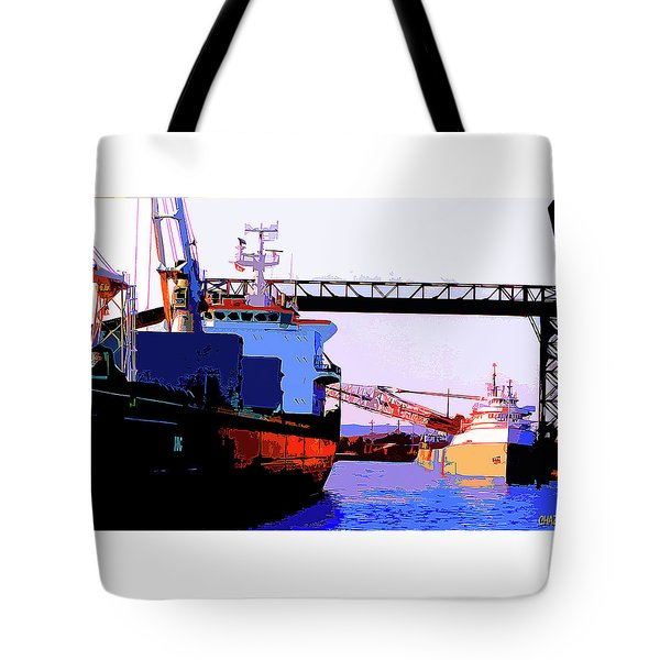 Loading The Iron Ore On The Great Lakes Freighters Tote Bag