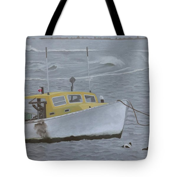 Lobster Boat In Kettle Cove Tote Bag