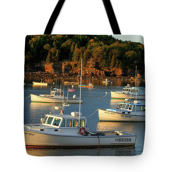 Tote Bag featuring the photograph Lobster Boats At Bar Harbor Me  by Emmanuel Panagiotakis