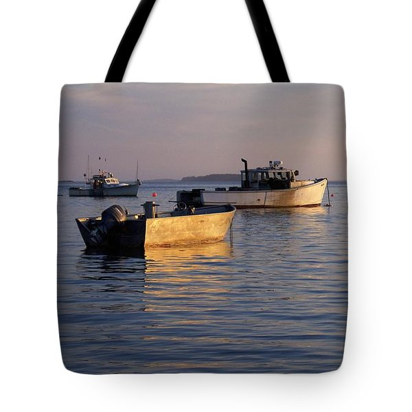 Lobster Boats Off Harpswell Maine Tote Bag by Colleen Williams