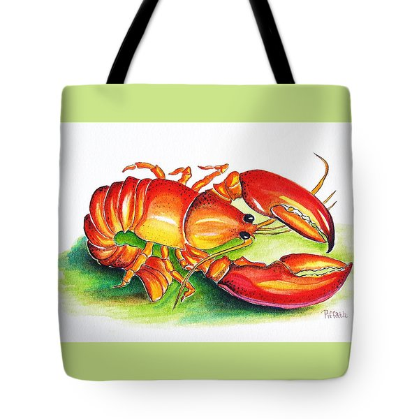 Tote Bag featuring the painting Lobster by Patricia Piffath