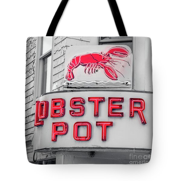 Lobster Pot Neon Provincetown Cape Cod Tote Bag by Edward Fielding
