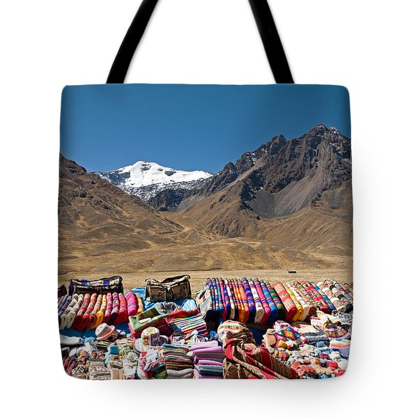 Local Handicraft At Abra La Raya Pass Tote Bag by Aivar Mikko