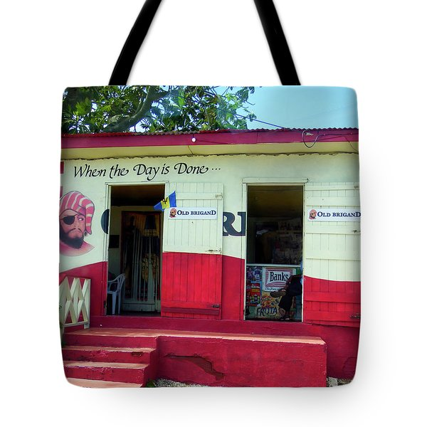 Tote Bag featuring the photograph Local Rum Shop, Barbados by Kurt Van Wagner