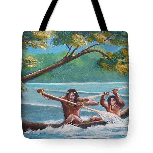 Locals Rowing In The Amazon River Tote Bag