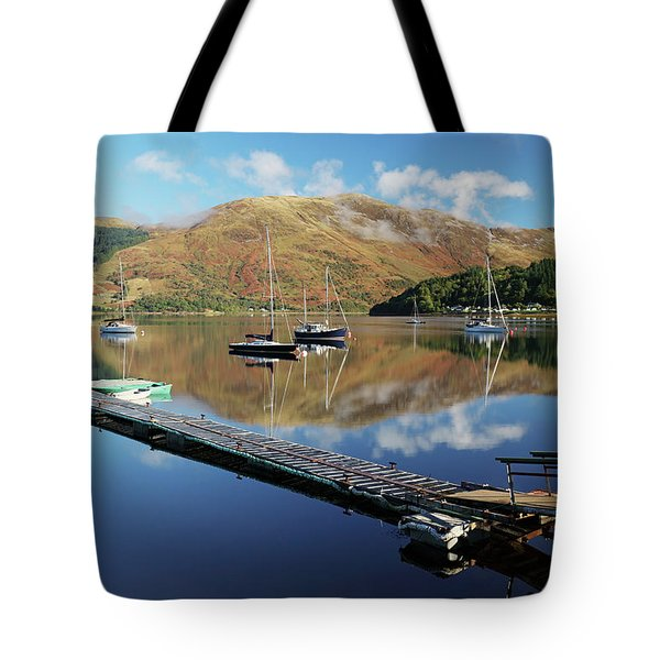 Loch Leven  Jetty And Boats Tote Bag by Grant Glendinning