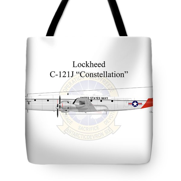 Lockheed C-121j Constellation Tote Bag by Arthur Eggers