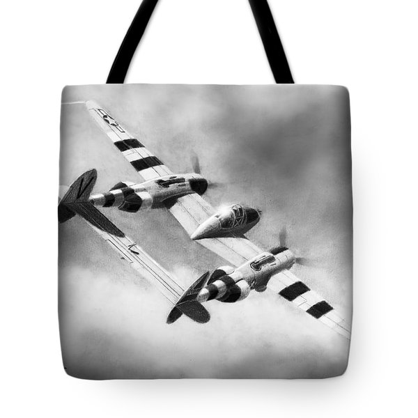 Lockheed P-38l Lightning Drawing Tote Bag