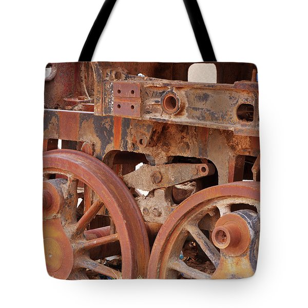 Tote Bag featuring the photograph Locomotive In The Desert by Aidan Moran