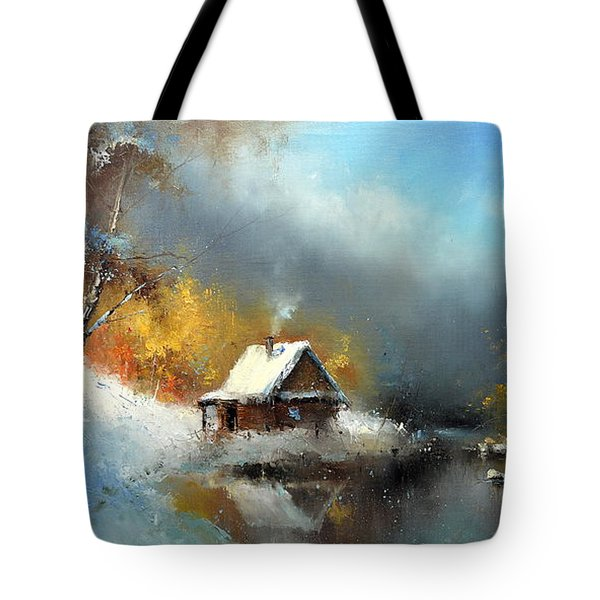 Lodge In The Winter Forest Tote Bag