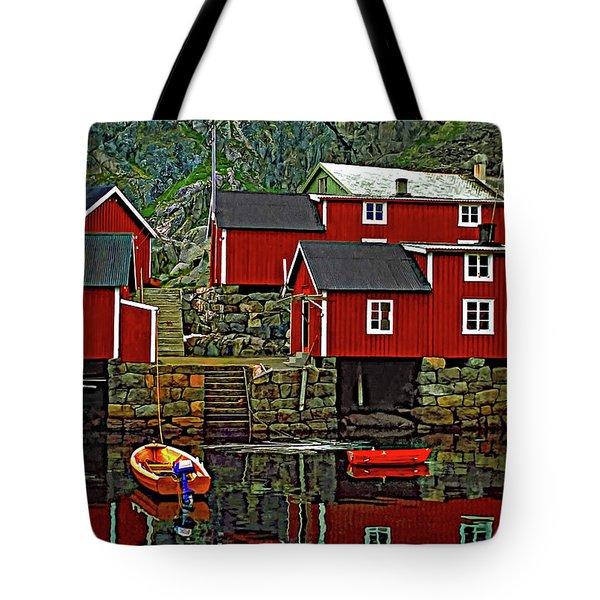 Lofoten Fishing Huts Tote Bag by Steve Harrington