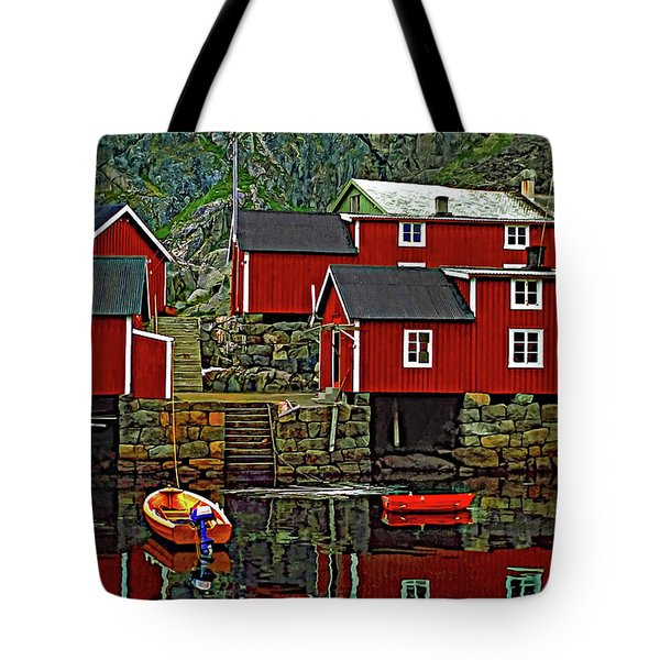 Lofoten Fishing Huts Tote Bag