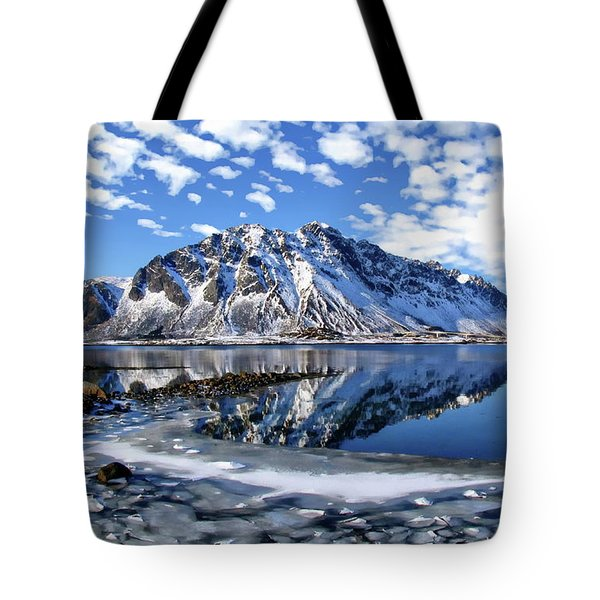 Lofoten Winter Scene Tote Bag