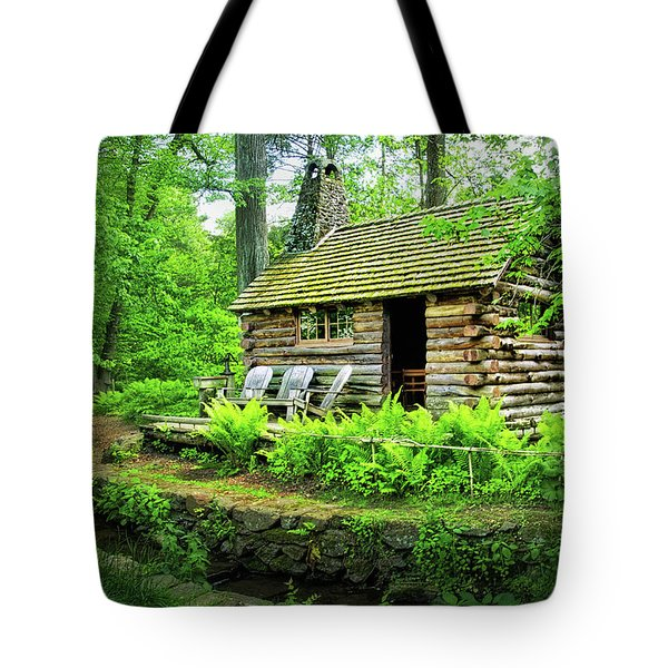 Log Cabin At Morris Arboretum Tote Bag