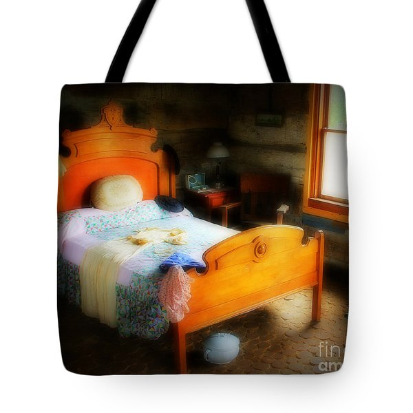 Log Cabin Bedroom Tote Bag by Perry Webster