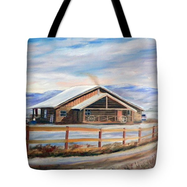 Tote Bag featuring the painting Log Cabin House In Winter by Sherril Porter