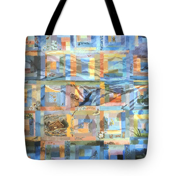 Tote Bag featuring the painting Log Cabin Quilt by Dawn Senior-Trask