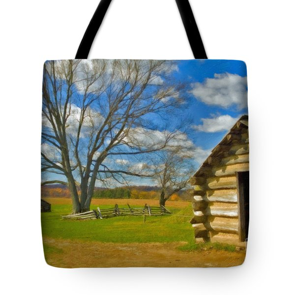 Tote Bag featuring the photograph Log Cabin Valley Forge Pa by David Zanzinger