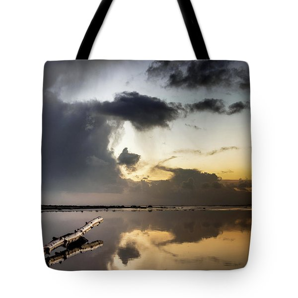 Log Pointing To Sunset Tote Bag
