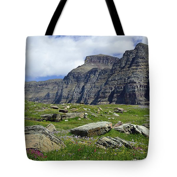 Logan Pass Meadow And Mountains In Glacier National Park Tote Bag
