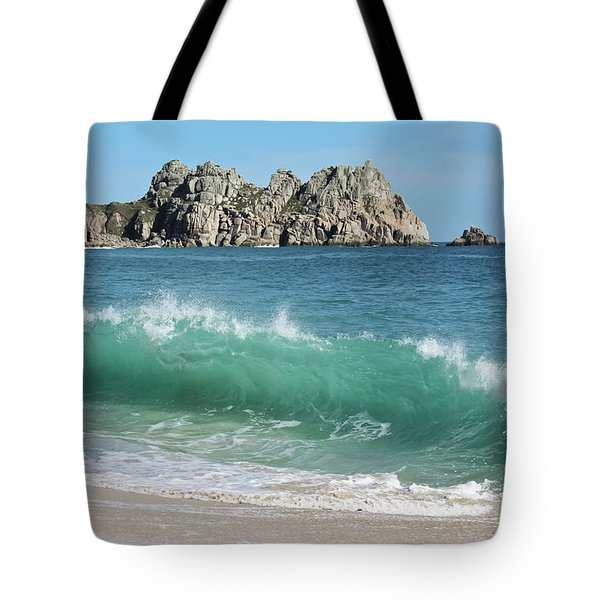 Tote Bag featuring the photograph Logan Rock Porthcurno Cornwall by Terri Waters