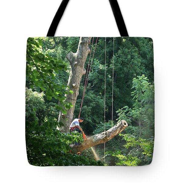 Logger Cutting Down Large, Tall Tree Tote Bag
