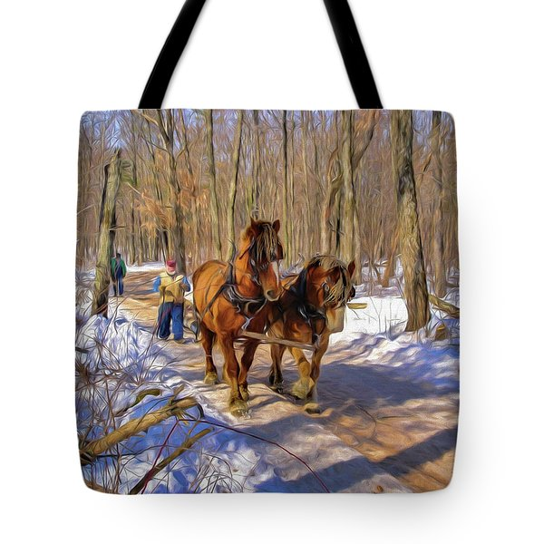 Logging Horses 1 Tote Bag by Trey Foerster