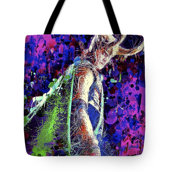 Tote Bag featuring the mixed media Loki Ready For War by Al Matra