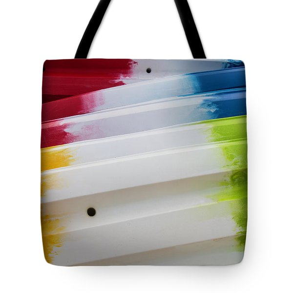 Tote Bag featuring the photograph Lolipop Kayaks by Joel Witmeyer