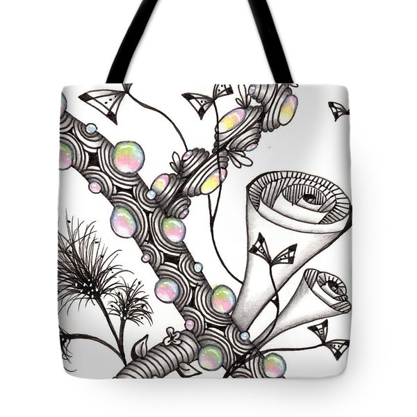 Tote Bag featuring the drawing Lollywimple Garden by Jan Steinle