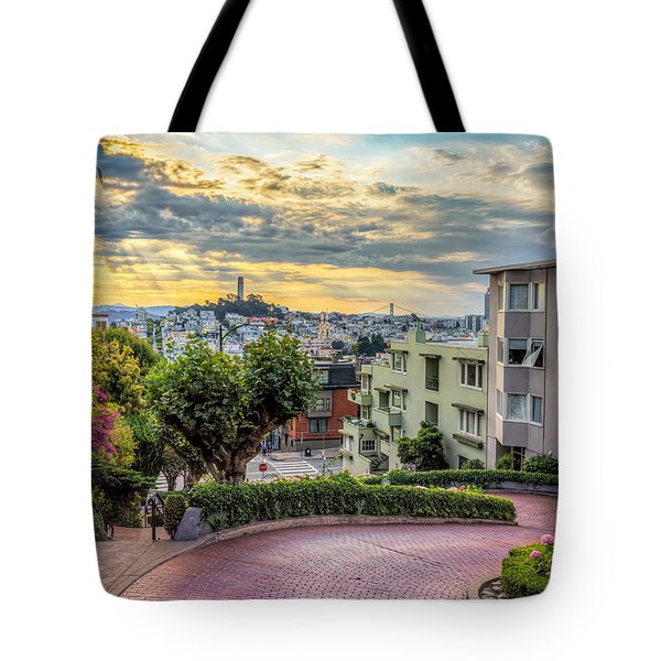 Lombard Street In San Francisco Tote Bag