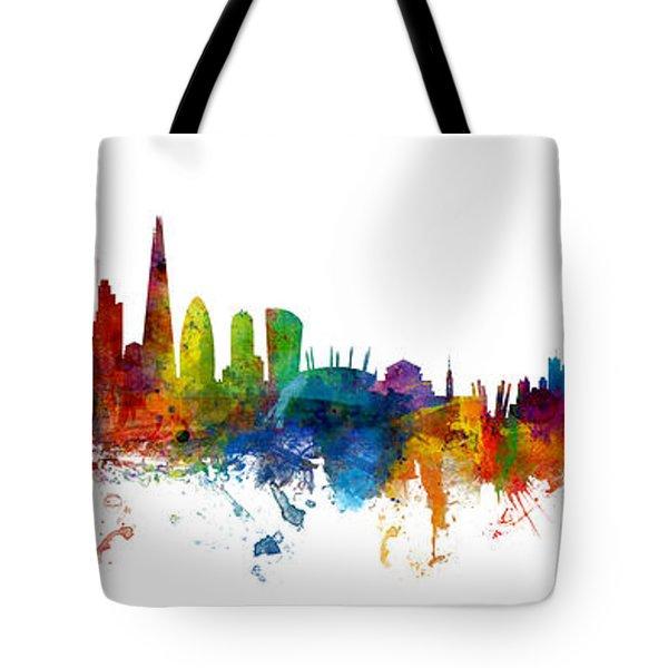 London And Warsaw Skylines Mashup Tote Bag