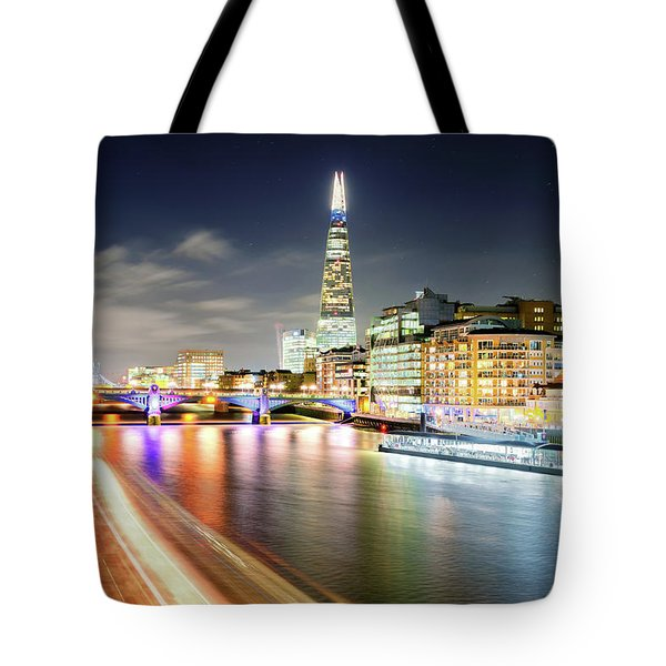 London At Night With Urban Architecture, Amazing Skyscraper And Boat At Thames River, United Kingdom Tote Bag