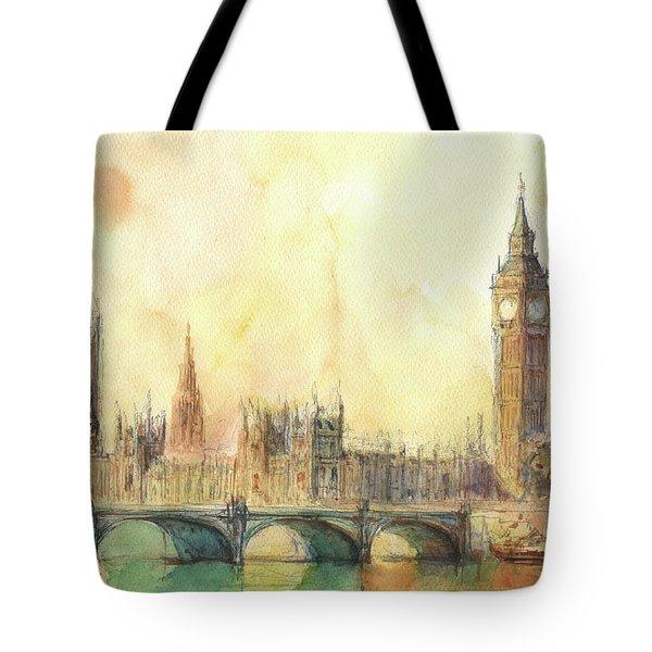 London Big Ben And Thames River Tote Bag by Juan Bosco