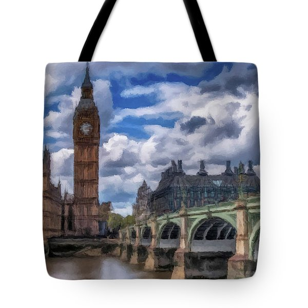 Tote Bag featuring the painting London Big Ben by David Dehner